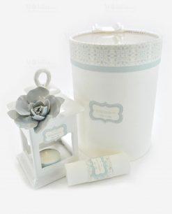 lanterna con fiore porcellana capodimonte con pergmena e scatola linea love rdm design