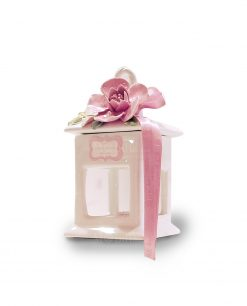 lanterna con tetto a punta con fiore rosa porcellana capodimonte linea blush rdm design