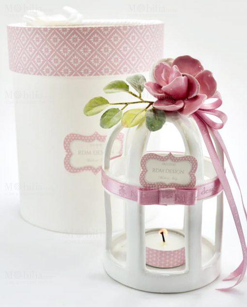 lanterna porcellana capodimonte con fiore rosa linea blush rdm design