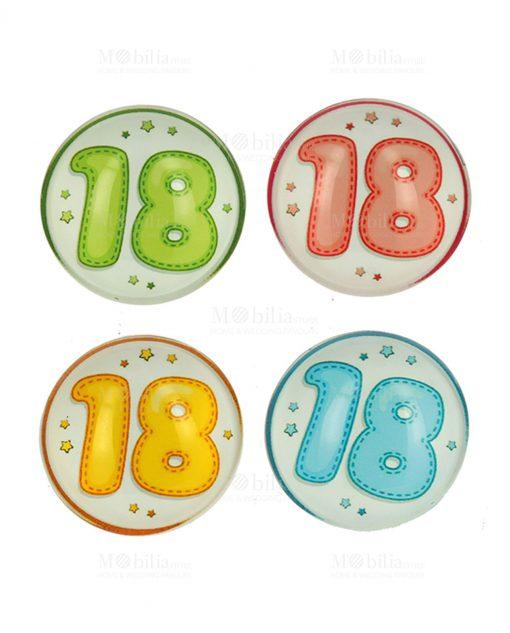 magnete bombato con numero diciotto colori assortiti