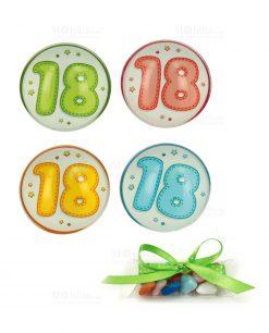 magnete bombato con numero diciotto colori assortiti su tubicino con confetti