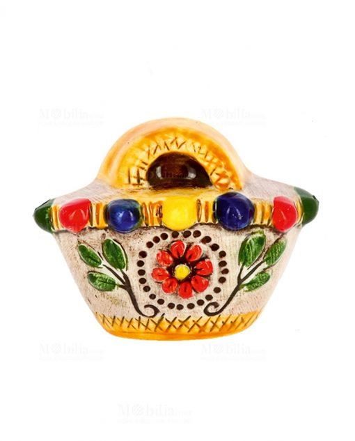 magnete borsetta con fiore e foglie ceramica