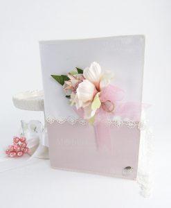 partecipazione invito rosa e bianco con fiore e corona linea queen cherry and peach