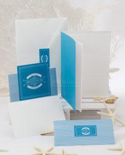 partecipazione nozze bianco e azzurro a riche linea oceania rdm design