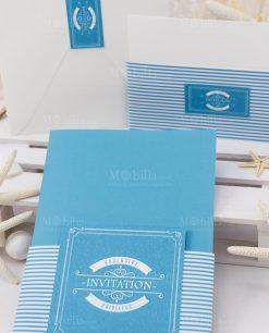partecipazione nozze bianco e azzurro linea oceania rdm design