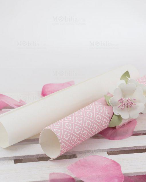 partecipazione nozze cartoncino bianco e rosa linea blush rdm design