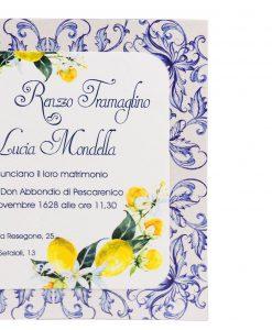 partecipazione nozze con limoni bianco e blu