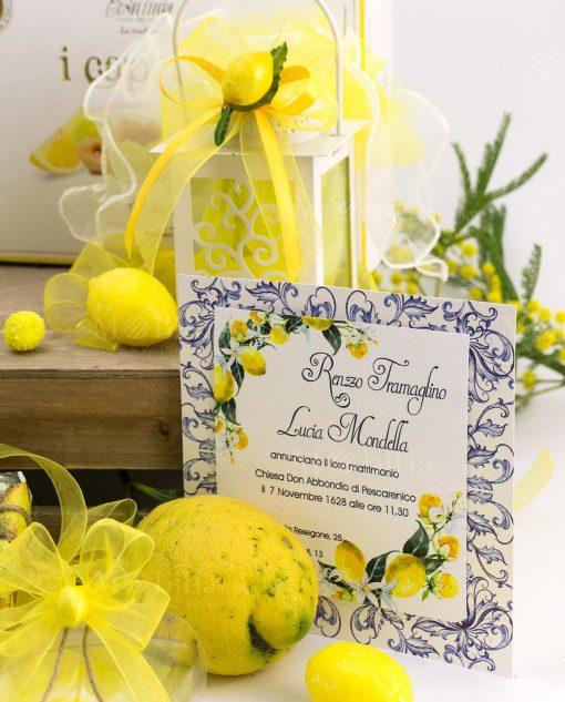 partecipazione nozze con limoni lanterna led albero della vita led