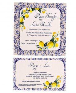 partecipazione nozze e invito bianco e blu con limoni