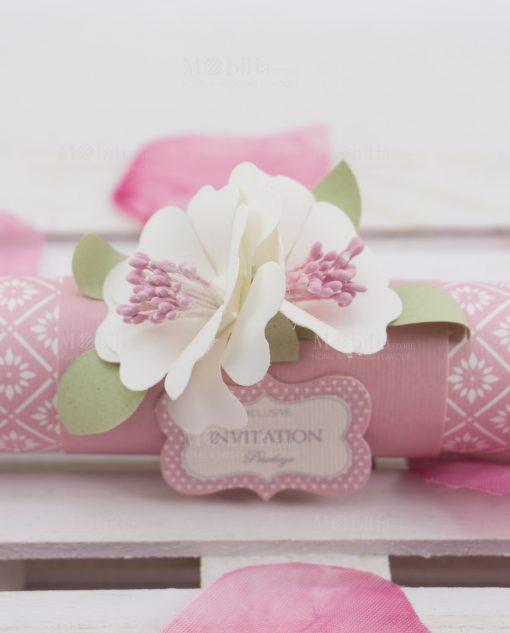 partecipazione nozze rosa dettaglio fiori bianchi linea blush rdm design