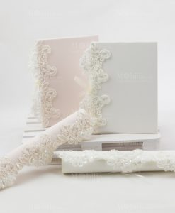 partecipazioni nozze bianco e rosa con ricamo linea forever rdm design