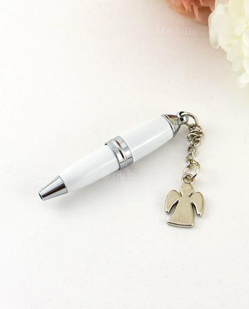 penna bianca con ciondolo angelo