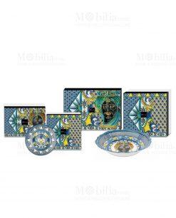 piatti linea baroque and rock blu baci milano con scatola