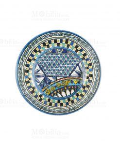 piatto dessert melamine con decori blu linea baroque and rock sicily blu baci milano