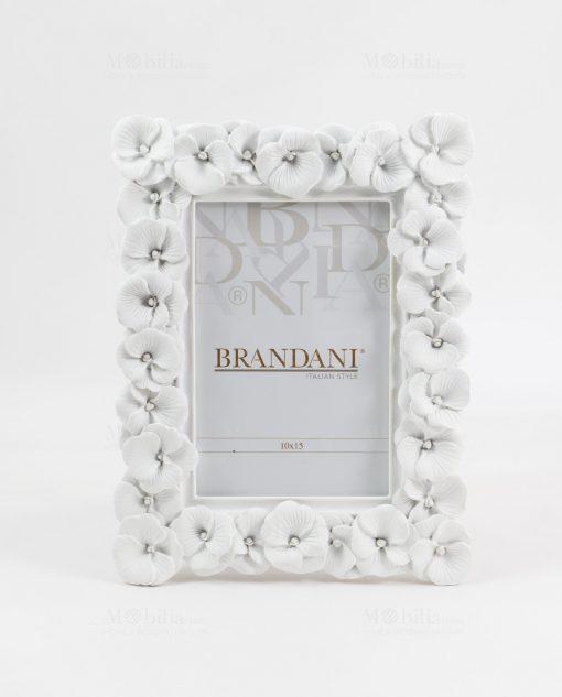 portafoto bianco con fiori piccolo brandani