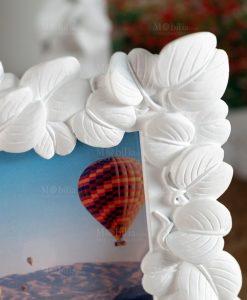 portafoto bianco con foglie brandani