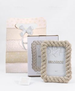 portafoto piccolo treccia oro con bag e scatola brandani