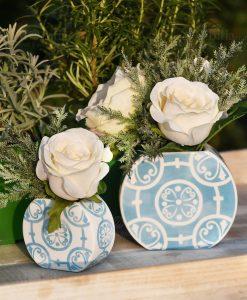 portapiante bianco e celeste varie misure con fiori linea sapori e profumi baci milano