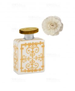 profumatore 100 ml quadrato bianco e giallo con fiore linea sapori e profumi baci milano