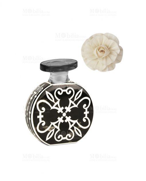 profumatore 100 ml rotondo bianco e nero con fiore linea sapori e profumi baci milano