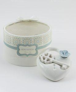 profumatore cuore con chiave e fiore rdm design con scatola
