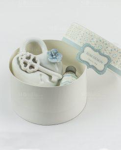profumatore cuore con chiave e fiore rdm design con scatola cartoncino rotonda e fragranza