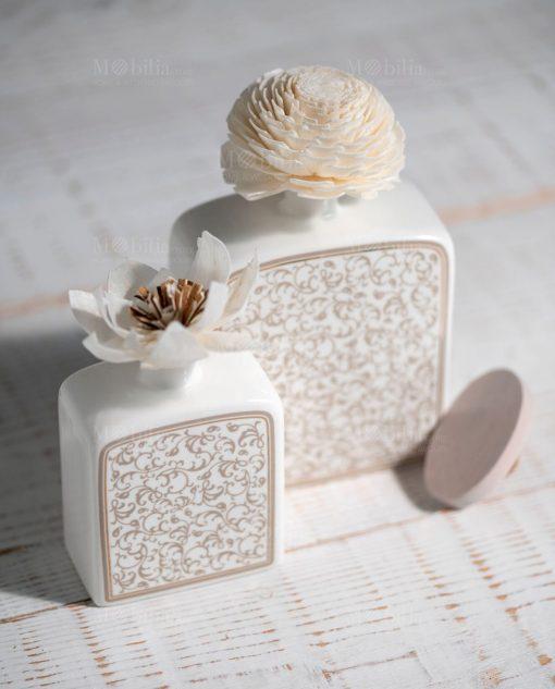 profumatore fragranza grande e piccolo modello fiore in sola wood brandani