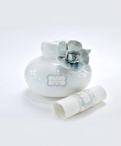 profumatore porcellana capodimonte con fiore azzurro con pergamena portaconfetti linea love rdm design