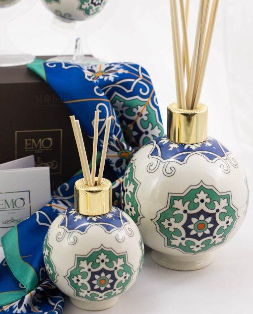 profumatore sfera con bastoncini due misure art collection linea azulejos emò