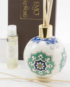 profumatore sfera con bastoncini e profumo art collection linea azulejos emò