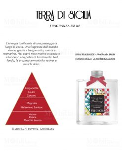 profumo spray per ambiente fragranza terra di sicilia da 250 ml linea baroque and rock sicily baci milano