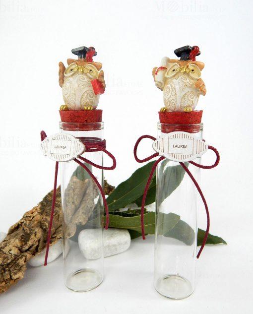 provetta vetro con tappo sughero rosso gufetto con tocco pergamena e libro due modelli