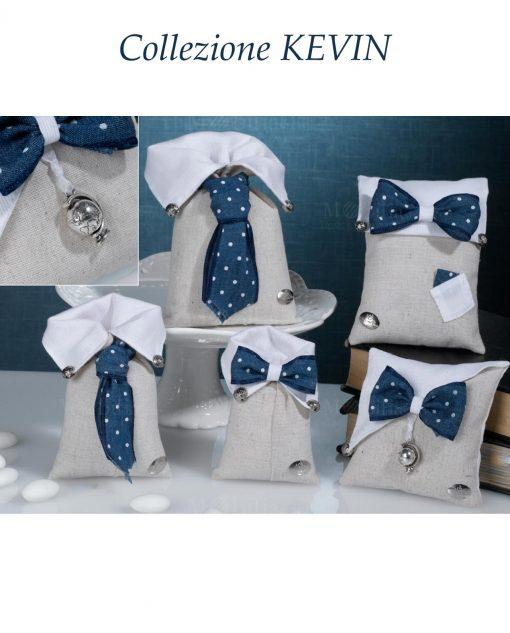sacchettini portaconfetti con cravatta e papillon blu a pois collezione kevin cherry and peach