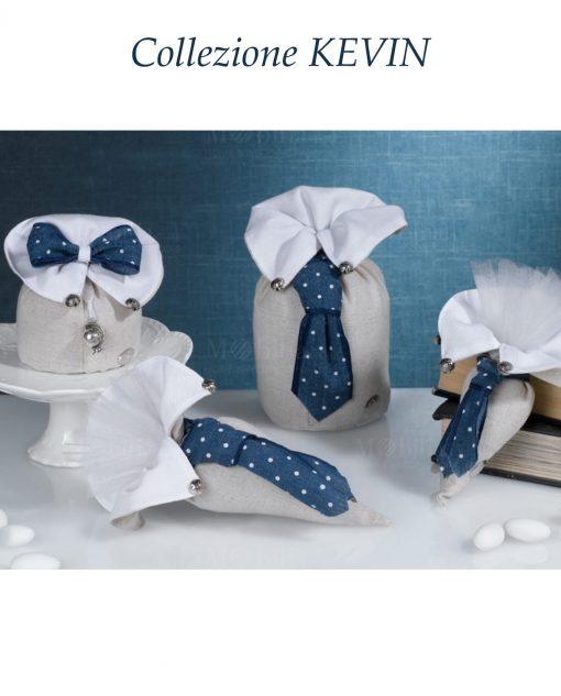 sacchettini portaconfetti con cravatta e papillon blu collezione kevin cherry and peach