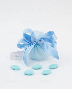 sacchetto azzurro con fiocco raso con confetti linea baby flower ad emozioni