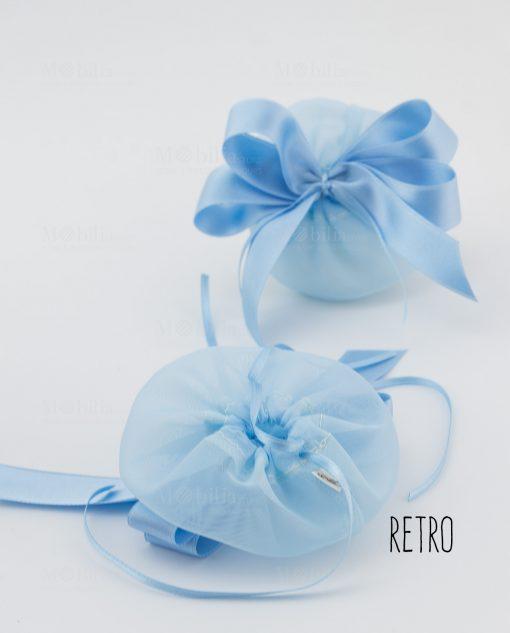 sacchetto azzurro con tirante e nastro raso avanti e retro linea baby flower ad emozioni