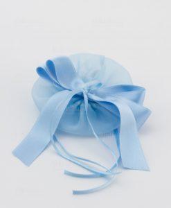 sacchetto azzurro con tirante e nastro raso linea baby flower ad emozioni