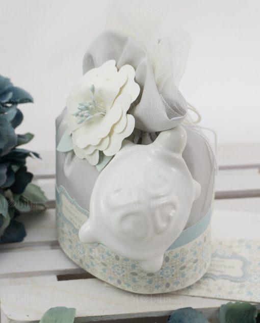 sacchetto portaconfetti con tartaruga porcellana capodimonte linea sweet memory rdm design