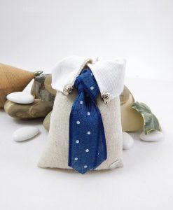 sacchetto portaconfetti rettangolare colletto con cravatta blu a pois bianchi cherry and peach