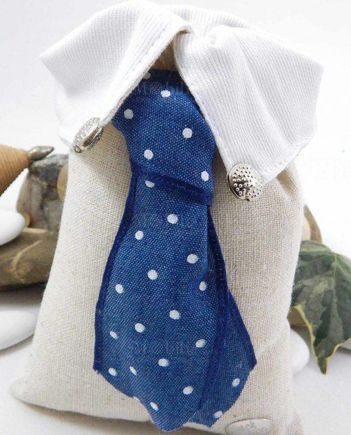 sacchetto portaconfetti rettangolare colletto con cravatta blu a pois cherry and peach