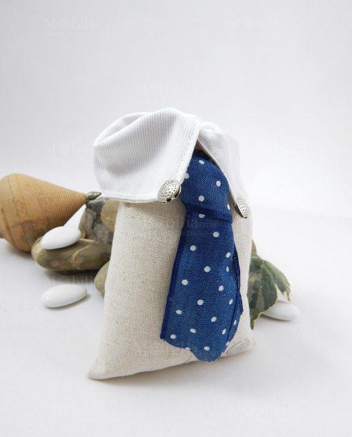sacchetto portaconfetti rettangolare colletto con cravatta blu pois bianchi cherry and peach