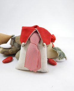 sacchetto portaconfetti rettangolare colletto rosso con cravatta rossa e bianca a righe cherry and peach