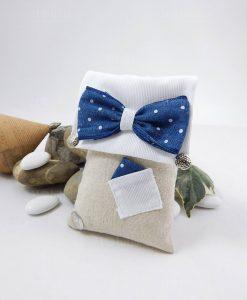 sacchetto portaconfetti rettangolare con papillon blu a pois bianchi e taschino con fazzoletto cherry and peach