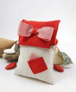 sacchetto portaconfetti rettangolare con papillon rosso e bianco a righe e taschino con fazzoletto cherry and peach