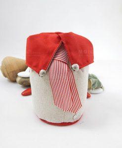 sacchetto puff portaconfetti colletto rosso con cravatta rossa e bianca a righe cherry and peach