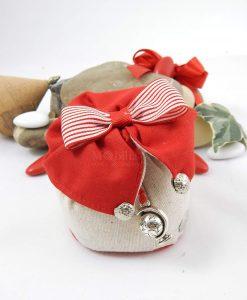 sacchetto puff portaconfetti colletto rosso con papillon rosso e bianco a righe con ciondolo mappamondo cherry and peach