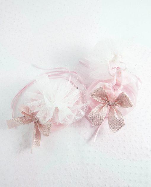 sacchetto puff rosa con fiocco strass linea princess ad emozioni