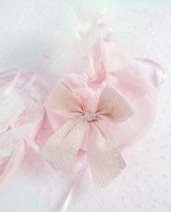 sacchetto puff rosa con tirante e fiocco strass linea princess ad emozioni