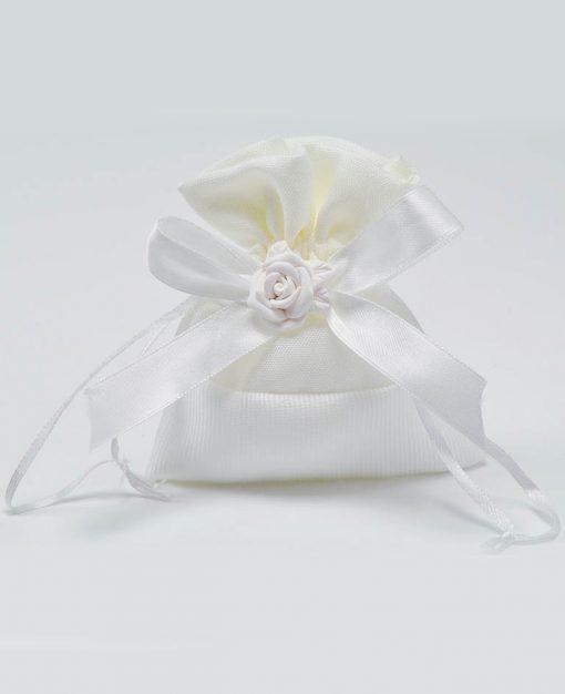 sacchetto raso bianco con rosellina bianca