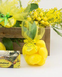 sacchetto rete giallo con saponette limone profumazione naturale